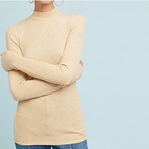 Anthropologie Pure + Good Yellow Striped Mock Neck